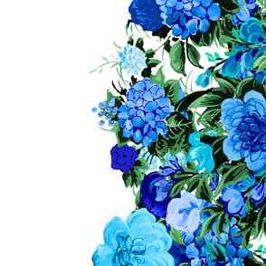 Mid Century Modern Cocktail Flower Border Print ~ Electric Blue