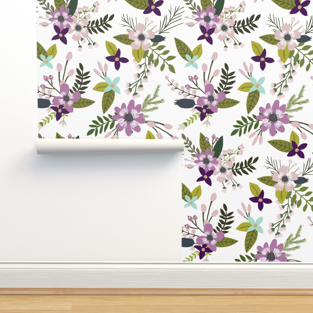 Isobar Durable Wallpaper featuring laguna sprigs and blooms // oversized by ivieclothco