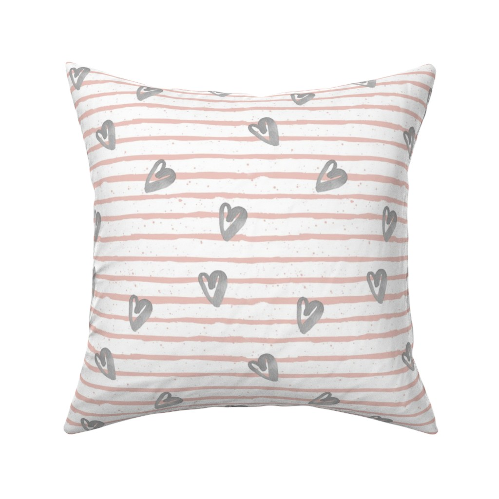 Catalan Throw Pillow featuring Muted Pink with Grey Watercolor Hearts by shopcabin