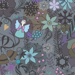 colorful grey xmas pattern