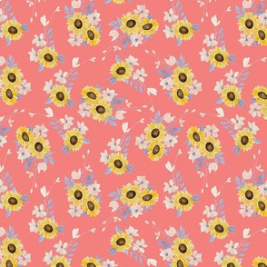 Ditsy Sunflowers Pink