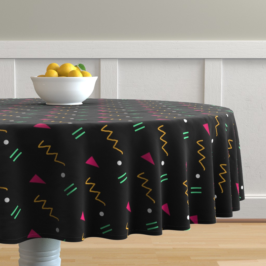 Malay Round Tablecloth featuring middleschoolgeometricorange by serenity_ii