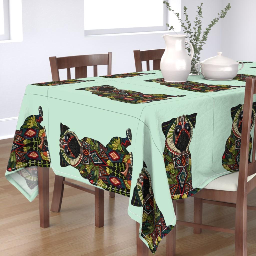 Bantam Rectangular Tablecloth featuring pug love mint tea towel by scrummy