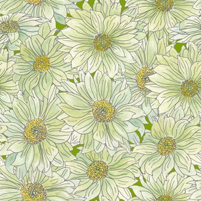 watercolor mums on green