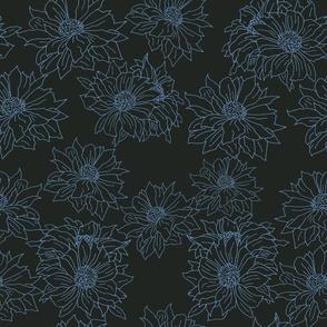 mums blue on black