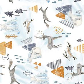 Northen Lights - Rotated/ Northen Lights/ Woodland Artic animals/ Polar Bear Deer Bunny