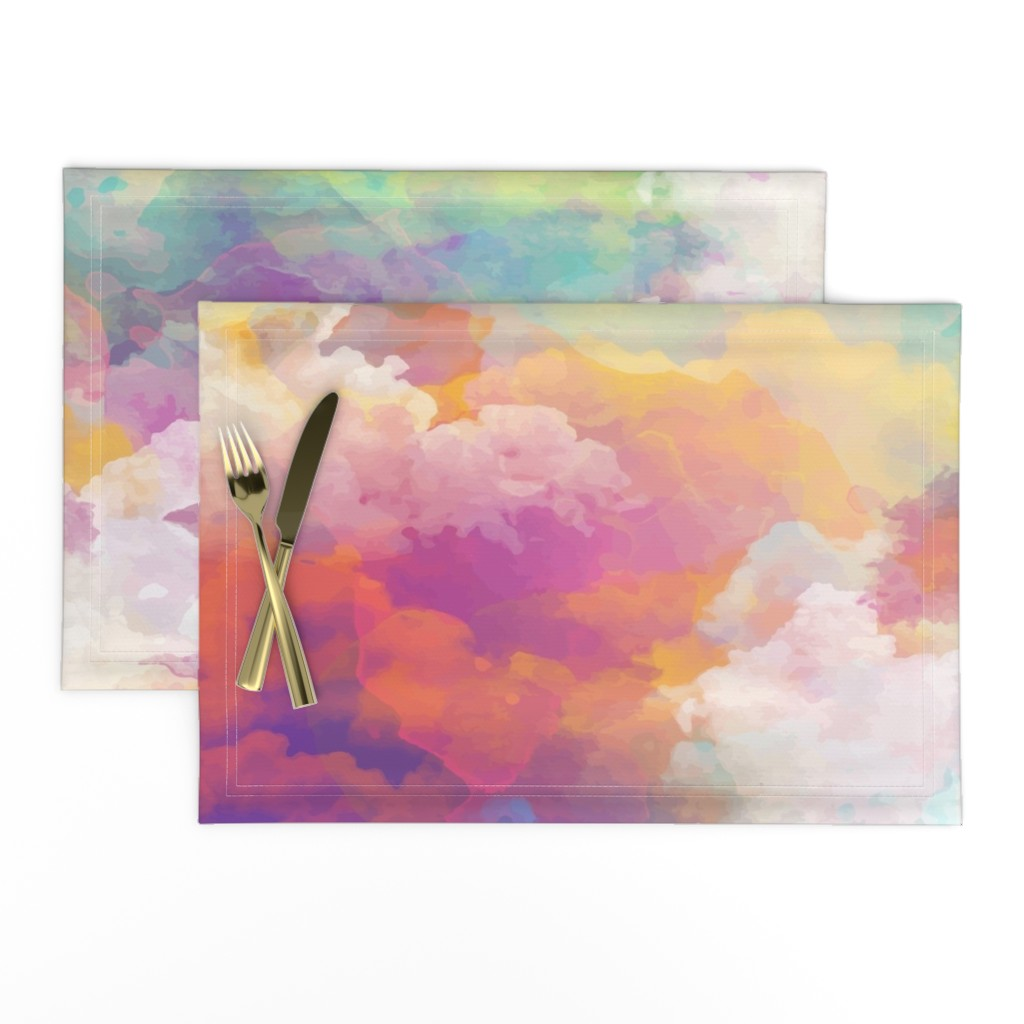 Lamona Cloth Placemats featuring  Watercolor pastel clouds by furbuddy