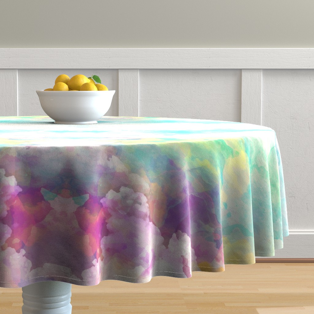 Malay Round Tablecloth featuring  Watercolor pastel clouds by furbuddy