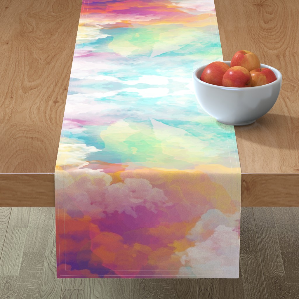 Minorca Table Runner featuring  Watercolor pastel clouds by furbuddy