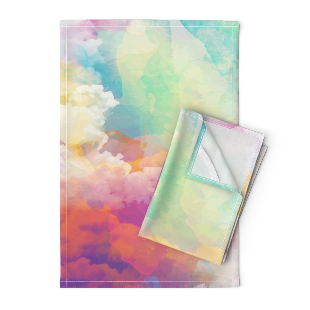 Orpington Tea Towels featuring  Watercolor pastel clouds by furbuddy
