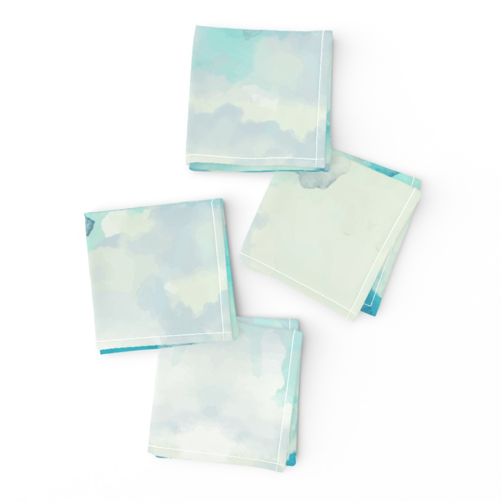 Frizzle Cocktail Napkins featuring Watercolor Blue and White Clouds by furbuddy