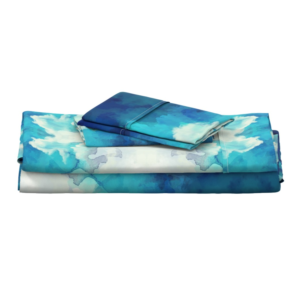 Langshan Full Bed Set featuring Watercolor Blue and White Clouds by furbuddy