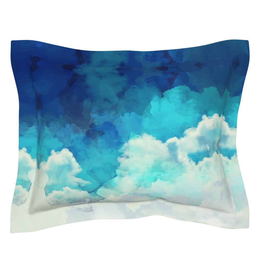 Sebright Pillow Sham featuring Watercolor Blue and White Clouds by furbuddy