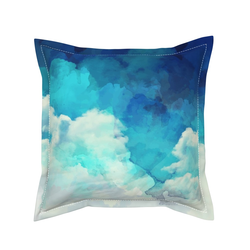 Serama Throw Pillow featuring Watercolor Blue and White Clouds by furbuddy