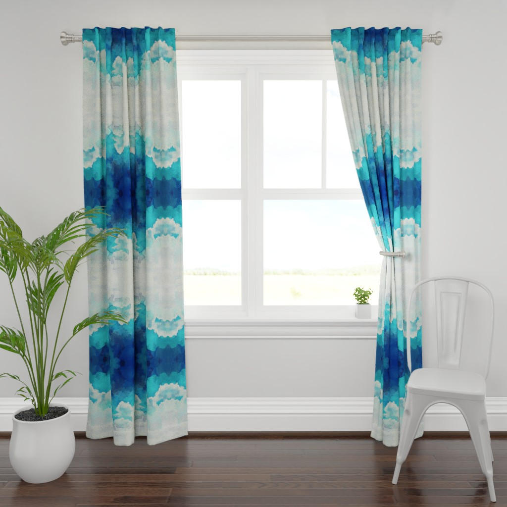 Plymouth Curtain Panel featuring Watercolor Blue and White Clouds by furbuddy