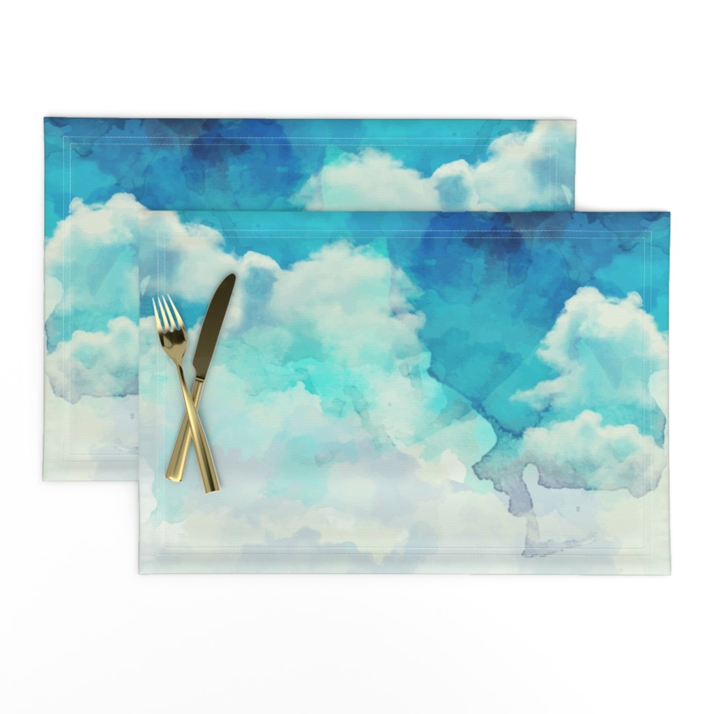 Lamona Cloth Placemats featuring Watercolor Blue and White Clouds by furbuddy