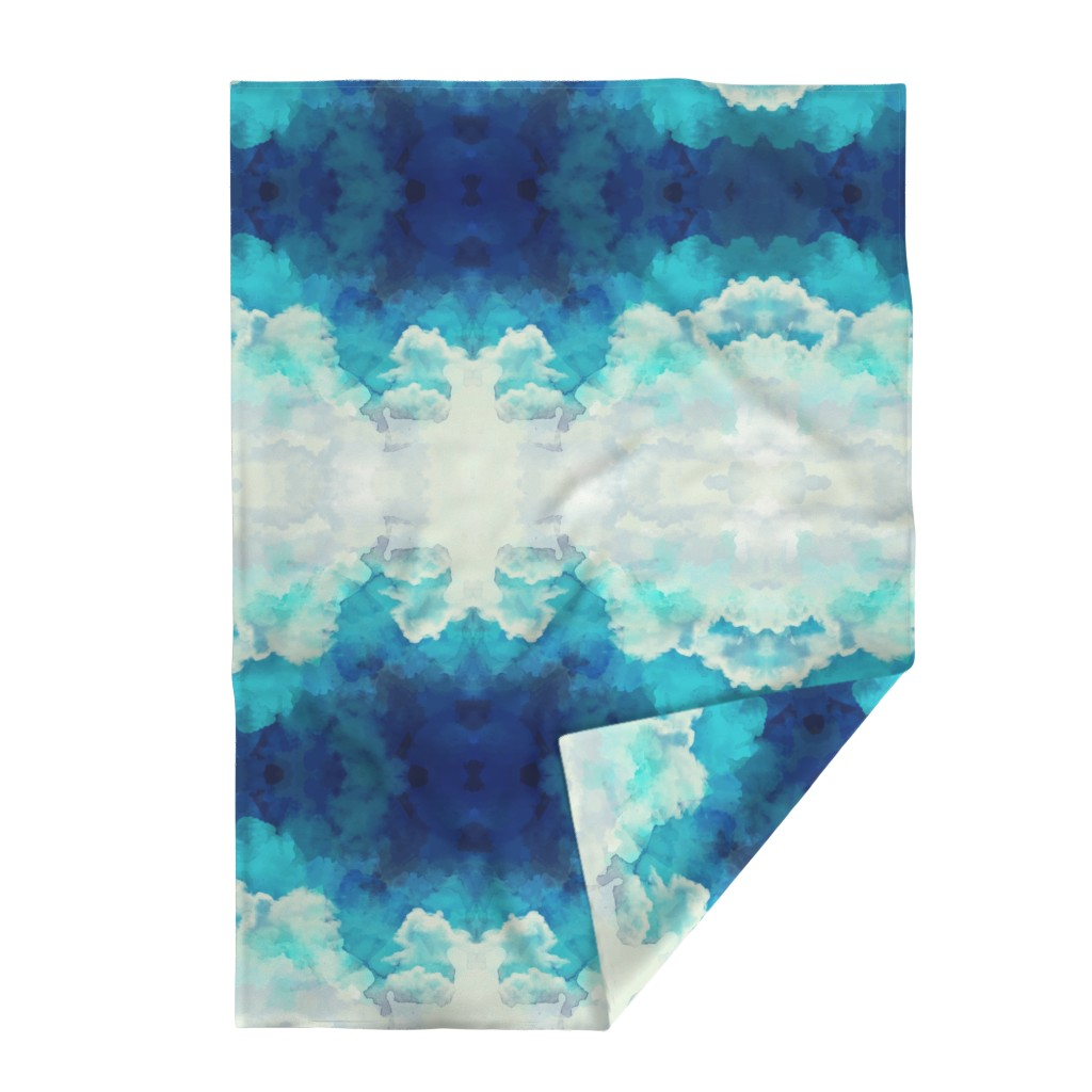 Lakenvelder Throw Blanket featuring Watercolor Blue and White Clouds by furbuddy