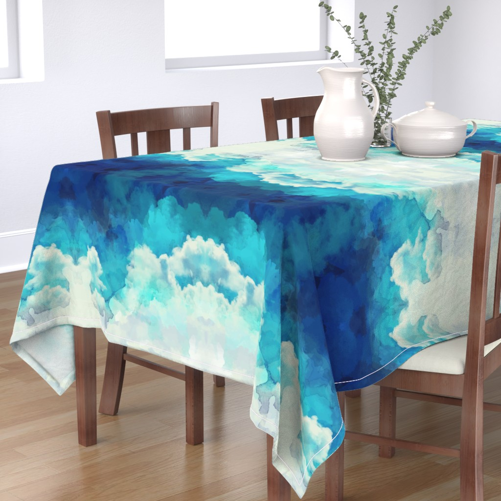 Bantam Rectangular Tablecloth featuring Watercolor Blue and White Clouds by furbuddy