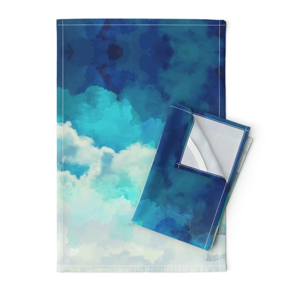 Orpington Tea Towels featuring Watercolor Blue and White Clouds by furbuddy