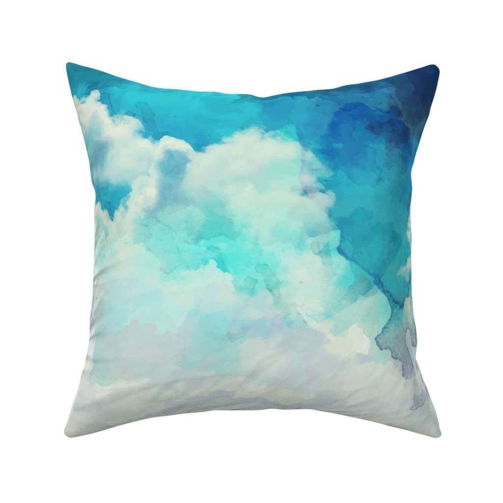 Catalan Throw Pillow featuring Watercolor Blue and White Clouds by furbuddy