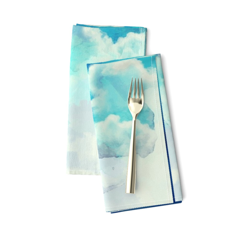 Amarela Dinner Napkins featuring Watercolor Blue and White Clouds by furbuddy