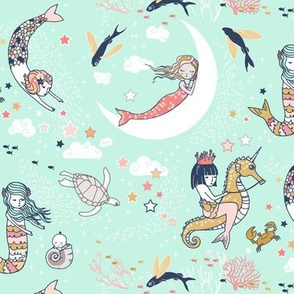 Mermaid Lullaby (mint, navy, coral gold) SMALL