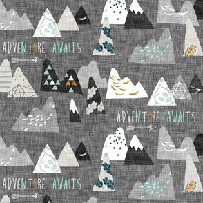 Adventure Awaits (charcoal) SMALL
