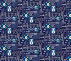 Fauxboro* (Jackie Blue) || embroidery stitch stitching needlepoint needlework boro Japanese collage geometric yarn thread patchwork denim