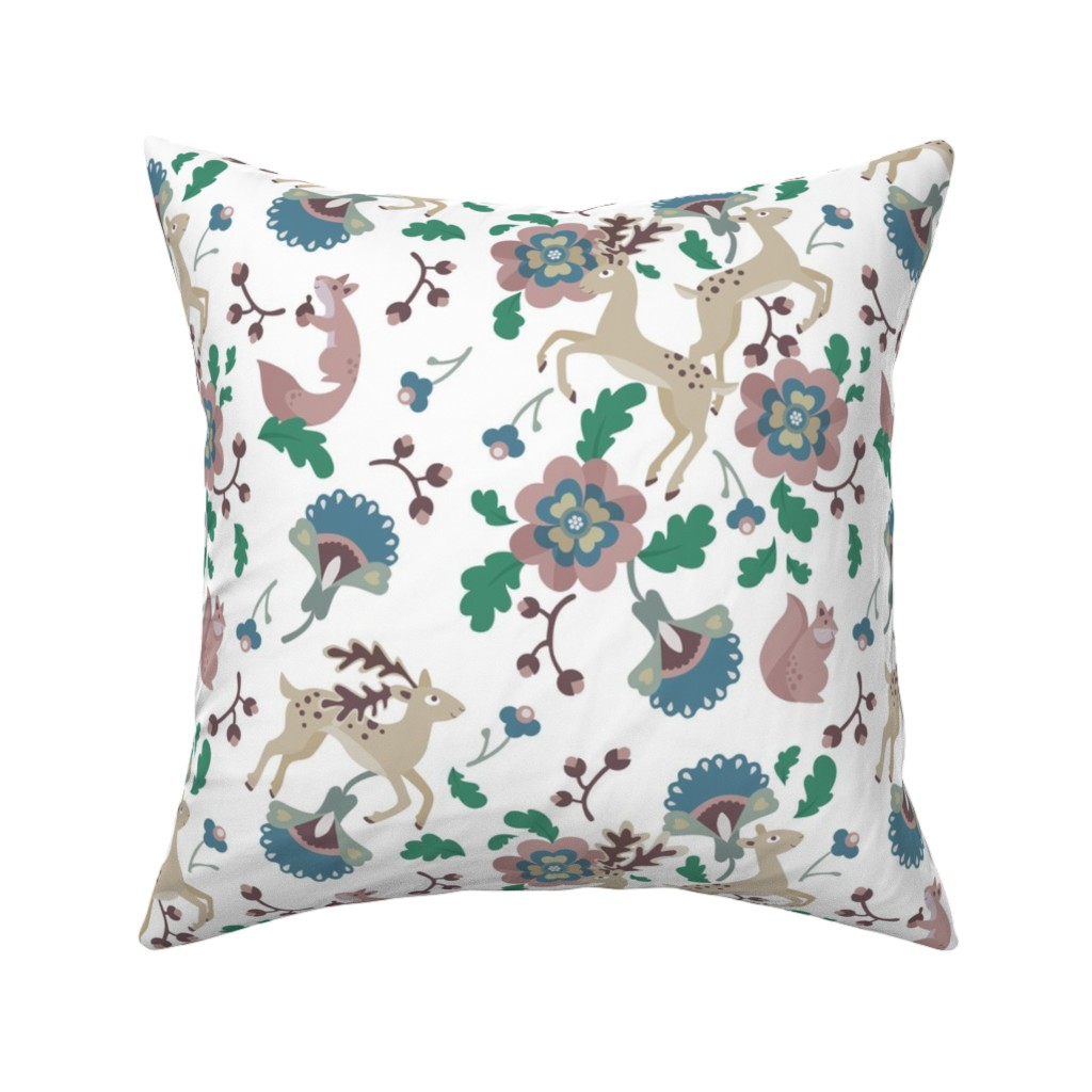 Catalan Throw Pillow featuring Deer Floral White by thimblefolio