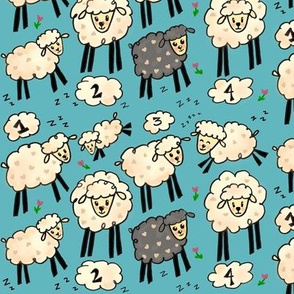 Out for the Count!-powder blue sheep