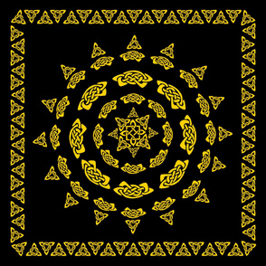 Celtic Scarf Mandala 1 Gold on Black