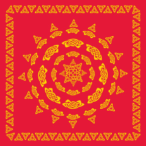 Celtic Scarf Mandala 1 gold on red