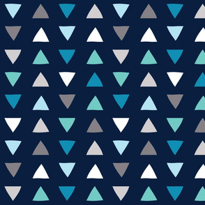 Sea Glass Hand Drawn Triangles Navy