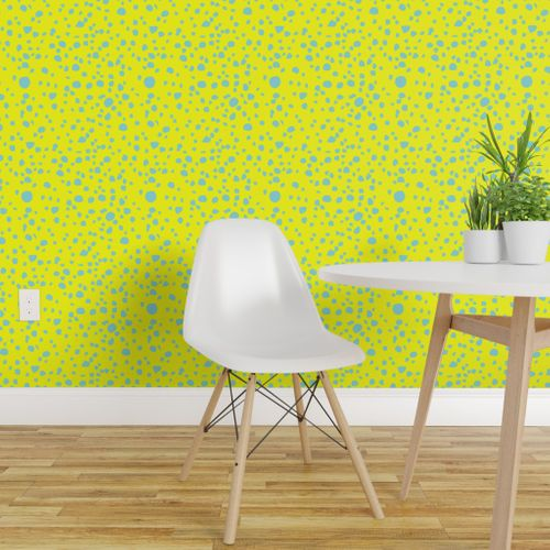Wallpaper Postmodern Granite Terrazzo Large Scale In Canary Yellow Mint