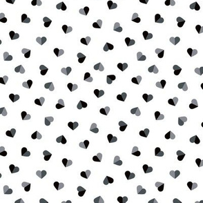 Abstract scandinavian style pastel gray hearts love print for Valentine black and white small