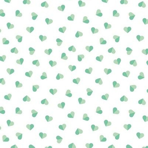 Abstract scandinavian style pastel mint hearts love print for Valentine small