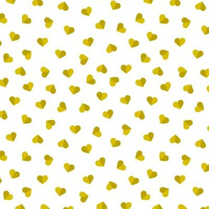 Abstract scandinavian style pastel mustard yellow ochre hearts love print for Valentine small