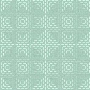 faux sashiko squares on mint green