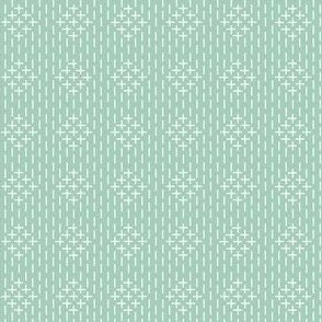 faux sashiko diamonds on mint green