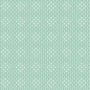 faux sashiko diamonds on mint green
