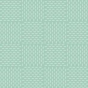 faux sashiko weave on mint green