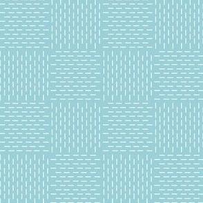 faux sashiko weave on light blue