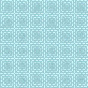 faux sashiko squares on light blue
