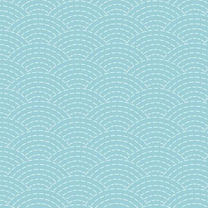 faux sashiko scallop on light blue