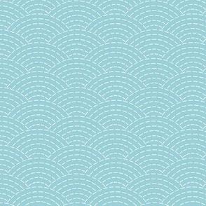 faux sashiko scallop on light blue