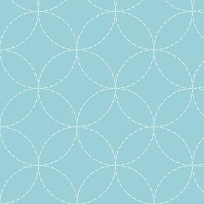 faux sashiko circles in light blue