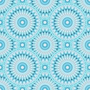Soft Turquoise and Grey Mandala Pattern Small Version