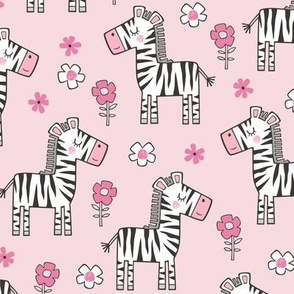 Zebra Horse With Flowers  Floral On Pink
