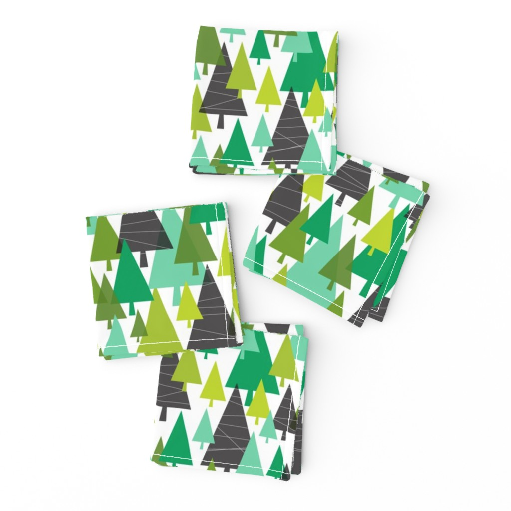 Frizzle Cocktail Napkins featuring Winter Woods - Modern Christmas Trees Green by heatherdutton