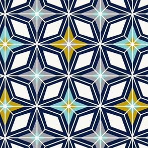 Nordic Star - Navy & Gold Midcentury Modern Geometric